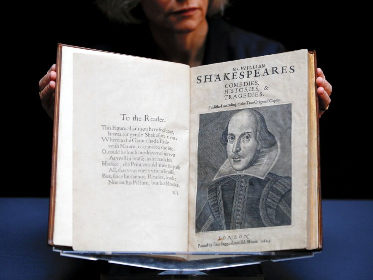 William Shakespeare's First Folio is displayed at Christie's Auction House London, Britain, January 13, 2020. The book, which was published in 1623 and contains 36 of Shakespeare's plays, is expected to sell for $4,000,000-6,000,000 when it goes on auction in New York. REUTERS/Henry Nicholls
