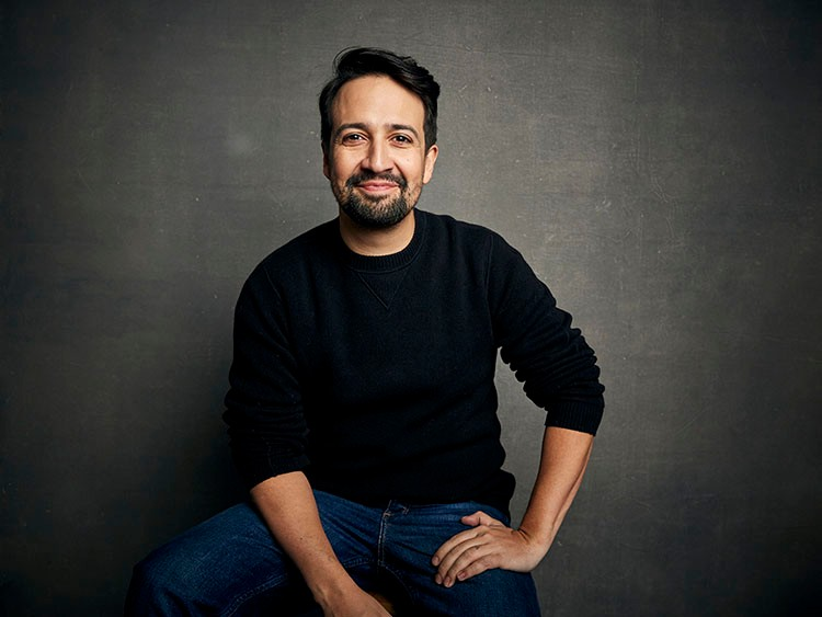 FILE - Lin-Manuel Miranda poses for a portrait during the Sundance Film Festival in Park City, Utah on Jan. 25, 2020.  The playwright, actor and songwriter shows his impressive hip-hop improv skills in 窶弩e Are Freestyle Love Supreme,窶