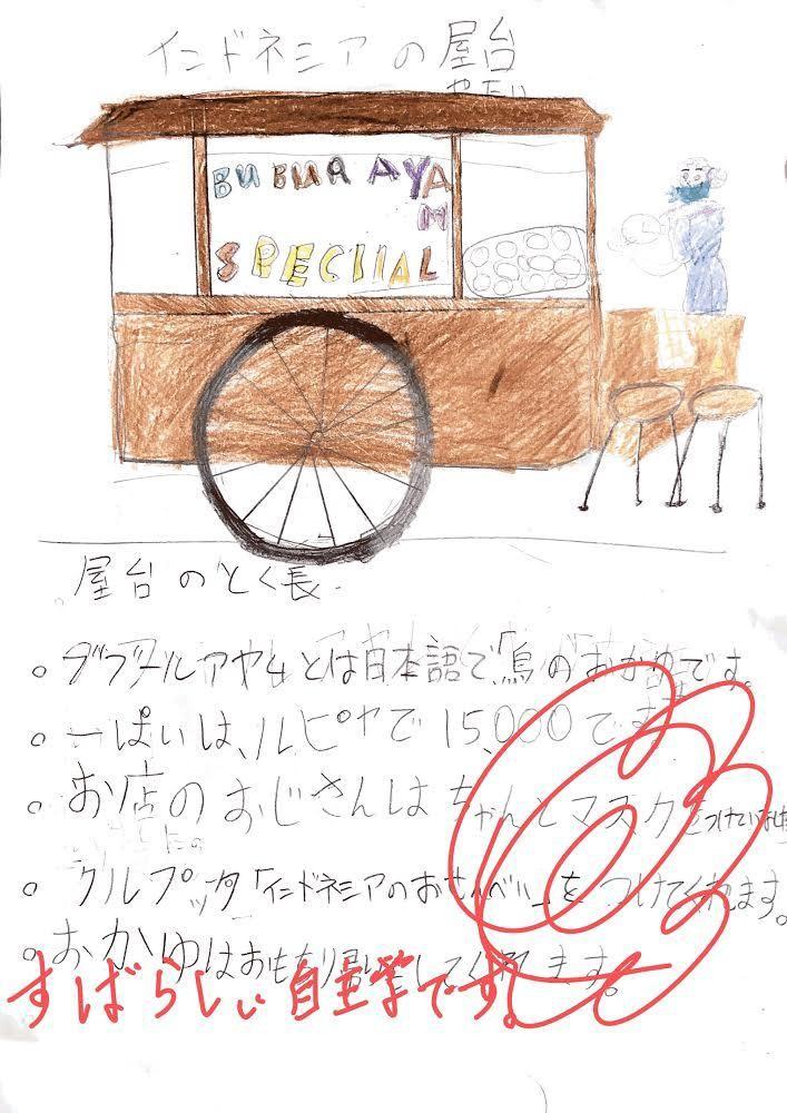 小学3年の児童が取り組んだ自主学習の一つ「インドネシアの屋台」=北岡教諭提供