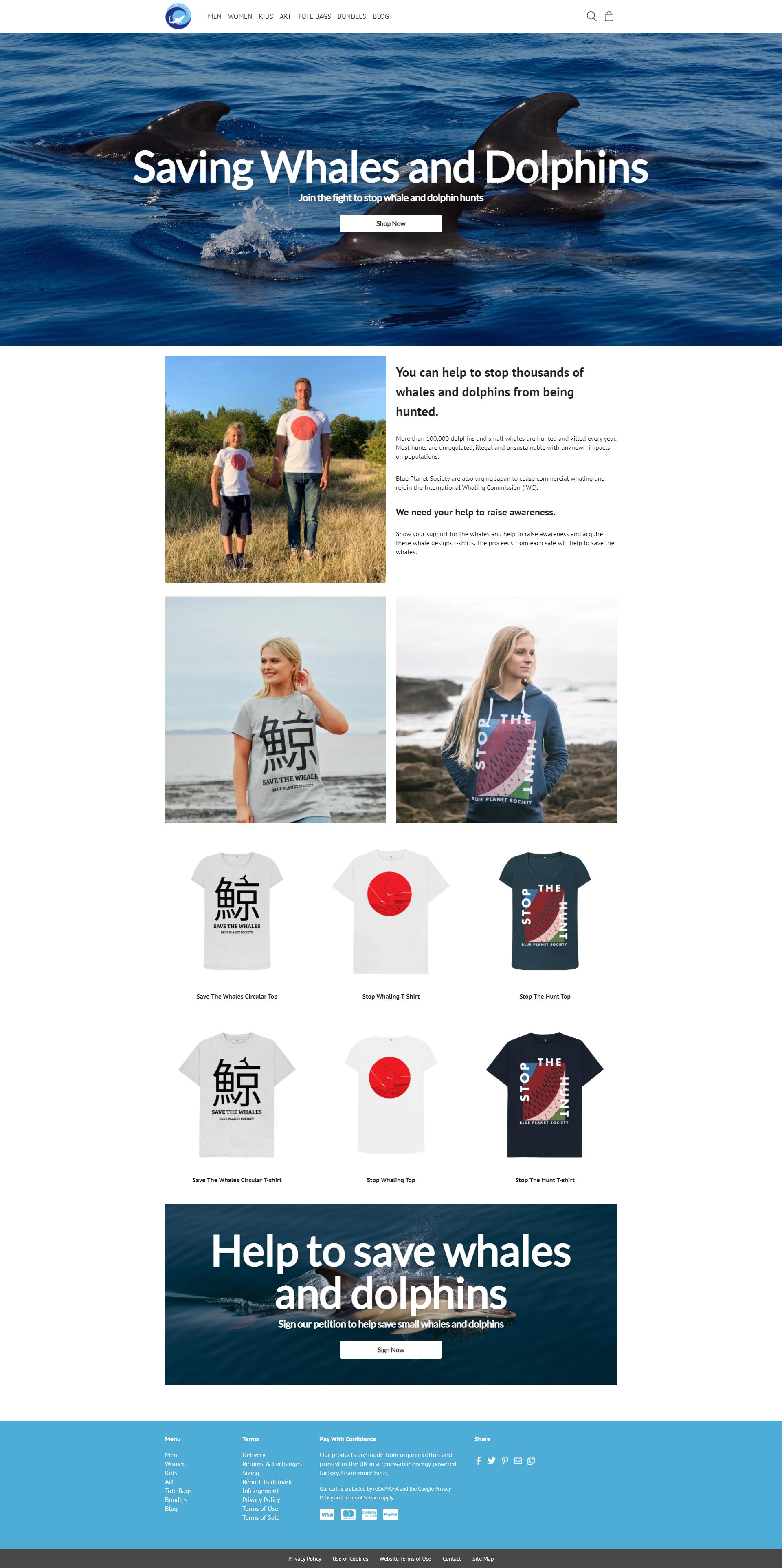 捕鯨やイルカ猟への反対を呼びかける「BLUE PLANET SOCIETY」の公式サイト。メッセージをプリントしたTシャツも販売することで活動資金の獲得を狙っているとみられる