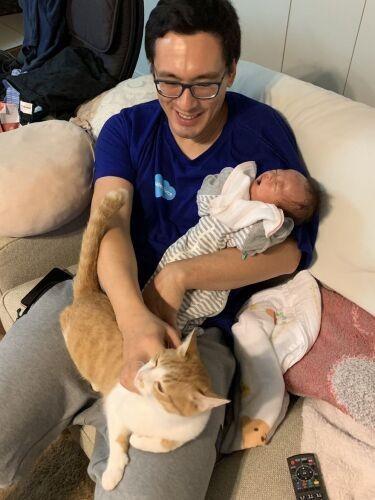 赤ちゃんを抱っこし、猫をひざにのせる男性