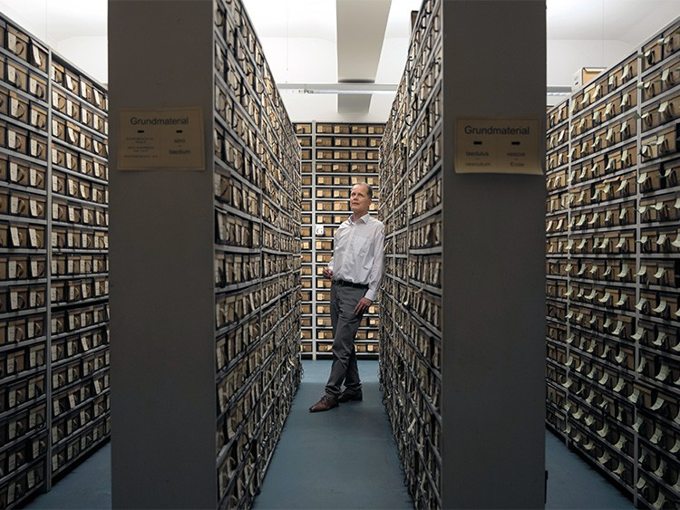 Project director Michael Hillen in the archive of the Thesaurus Linguae Latinae, at the Bavarian Academy of Sciences in Munich, Nov.. 22, 2019. Researchers, many long since dead, have been working here since the 1890s to compile the most comprehensive Latin dictionary ever. It is expected to be completed in 2050. (Gordon Welters/The New York Times)