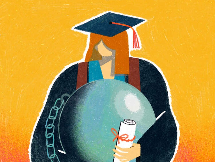 America's student debt is growing more slowly, but borrowing remains a fact of life for most students. The average burden for indebted college graduates is now nearly $30,000, a new analysis found. (Wenjia Tang/ The New York Times) -- NO SALES; FOR EDITORIAL USE ONLY WITH NYT STORY COLLEGE DEBT BY WENJIA TANG FOR SEPT. 27, 2019. ALL OTHER USE PROHIBITED. --