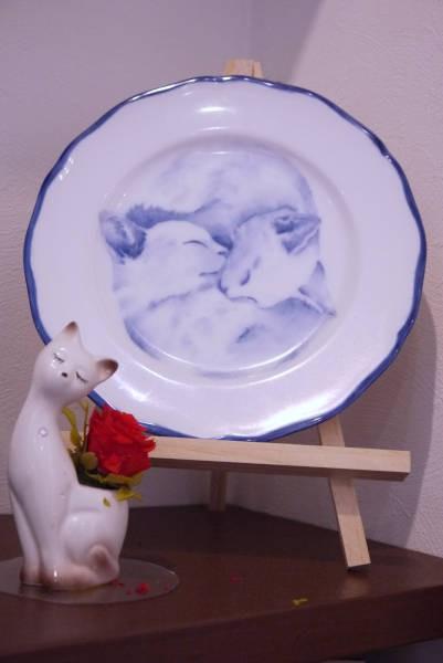 猫が描かれた皿