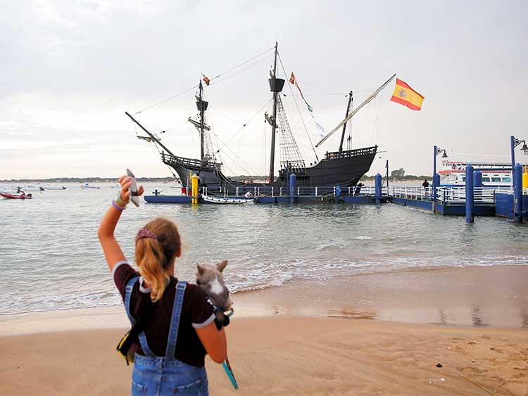 Replica of Magellan's ship Victoria is docked before the reenactment of Magellan's embarkment during the commemoration of 500th anniversary of the first expedition that circumvented the globe, in Sanlucar de Barrameda, Spain, September 20, 2019. REUTERS/Jon Nazca