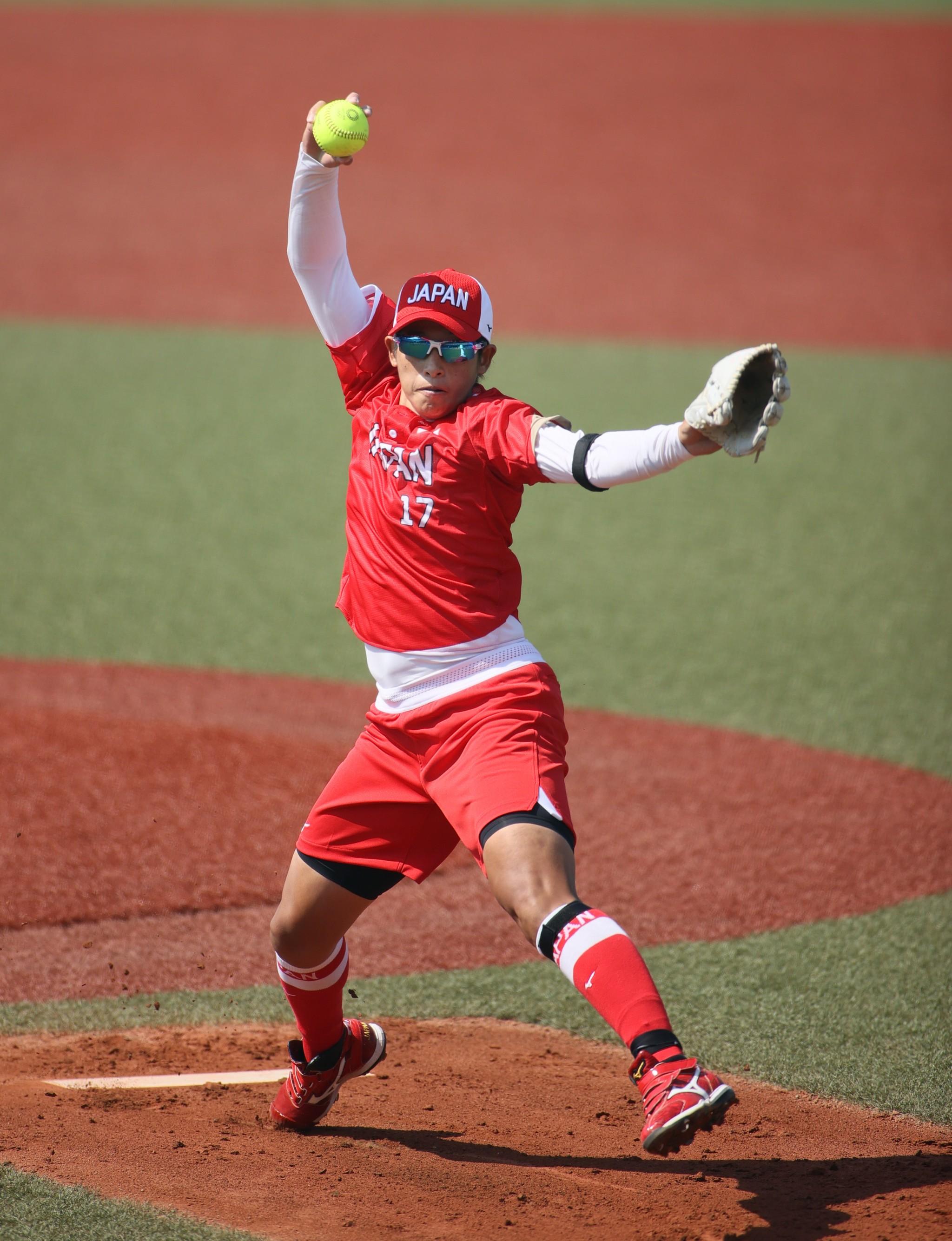オーストラリア戦で先発した上野由岐子投手=7月24日、福島県営あづま球場、細川卓撮影