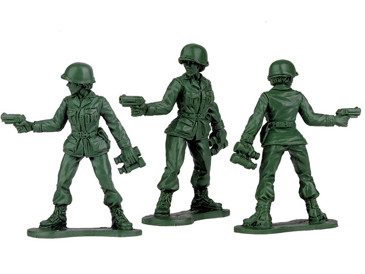 In a photo provided by Jeff Imel and BMC Toys, preliminary models from BMC Toys of Jeff Imel's plastic female toy soldiers. A letter written by Vivian Lord drew a flurry of news media attention and prompted one toymaker to develop, for the first time, a pack of the classic toy soldiers designed to be women. (Jeff Imel/BMC Toys via The New York Times)-- NO SALES; FOR EDITORIAL USE ONLY WITH NYT STORY FEMALE TOY SOLDIERS BY MIHIR ZAVERI FOR OCT. 20, 2019. ALL OTHER USE PROHIBITED. --