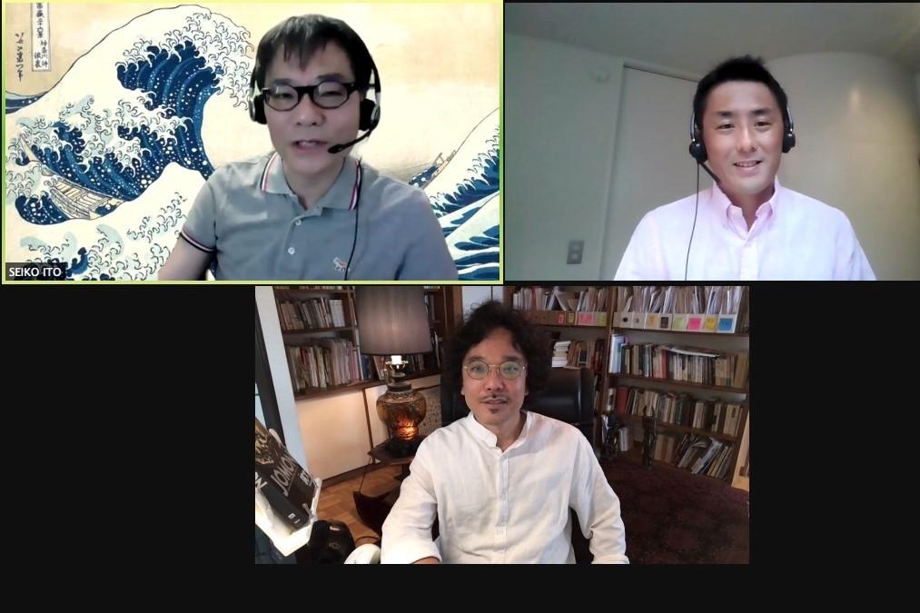 オンラインで意見を交わす竹倉史人さん(下)といとうせいこうさん(左上)、中島岳志さん