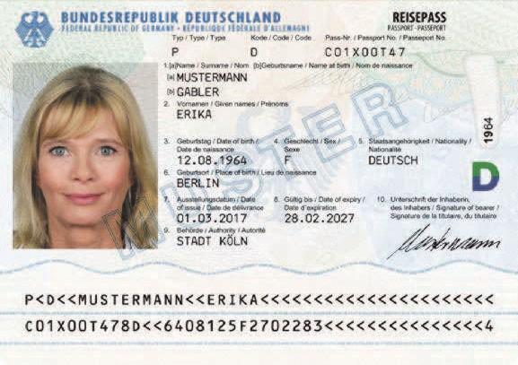 ドイツのパスポートの見本。署名欄には、ドイツ語の女性形Inhaberinが記載されるようになった=Wikimedia Commonsより