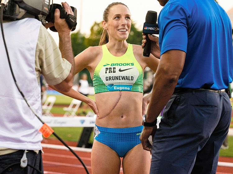 FILE -- Gabriele Grunewald, an NCAA all-American runner in the 1,500 meters, is interviewed at the Prefontaine Classic in Eugene, Ore., May 26, 2017. Less than two weeks after that race she began daily chemotherapy sessions, her fourth bout with the cancer that finally claimed her life on June 11, 2019. (Chris Low/The New York Times)