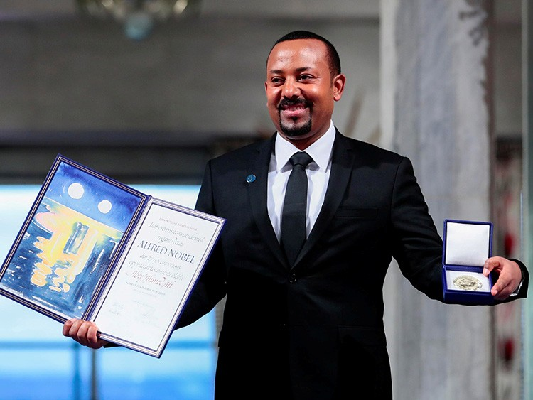 FILE PHOTO: Ethiopian Prime Minister Abiy Ahmed Ali poses with medal and diploma after receiving Nobel Peace Prize during ceremony in Oslo City Hall, Norway December 10, 2019.   NTB Scanpix/Hakon Mosvold Larsen via REUTERS